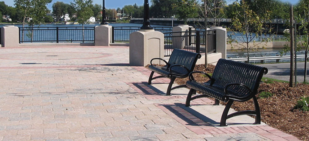 Site Amenities, park benches, park equipment, tables, and bike racks